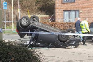 Overturned car Newbury Road, Enham Arch