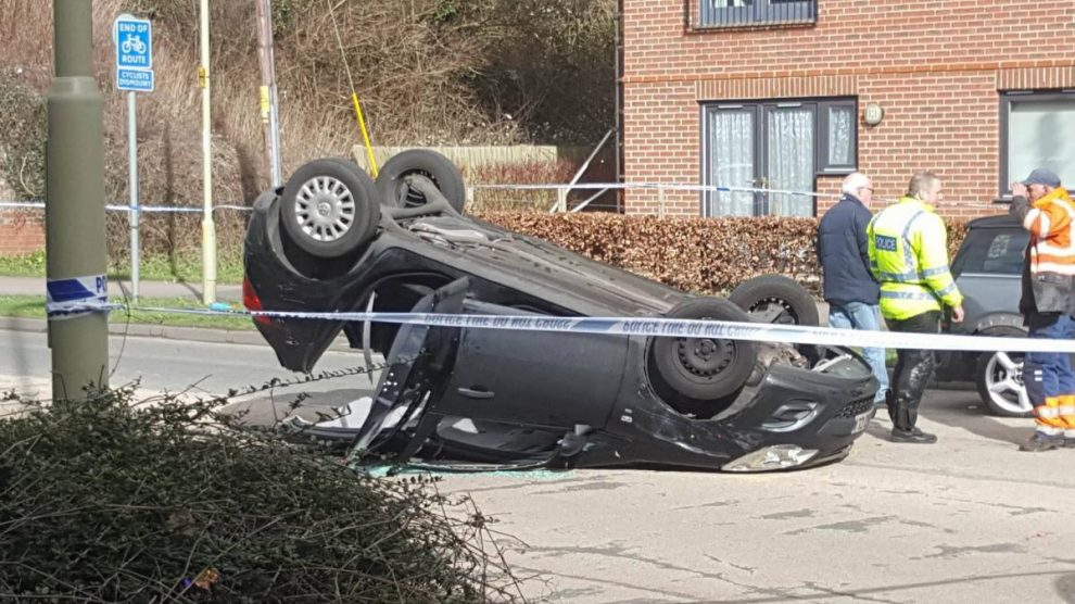 Overturned car Newbury Road, Enham Arch