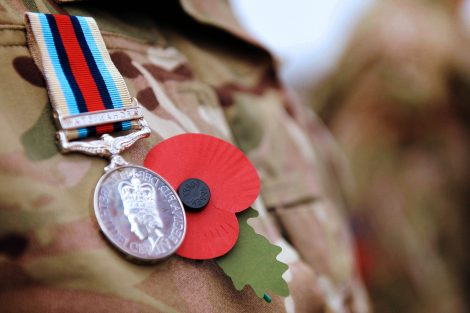Andover British soldier wears Remembrance Day Poppy