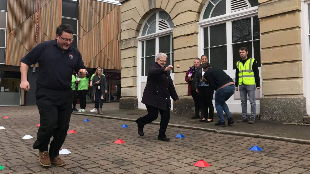 Richard Rowles and Iris Andersen Egg and Spoon Race