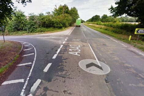 A342 Andover to Ludgershall Perham Down Junction (image via Google Map)