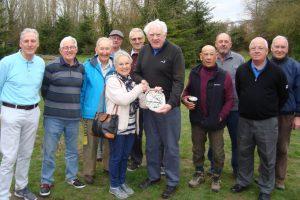 "Gloria Barclay presents the ""Peter Barclay Salver"" to Alan Sellwood at Charlton Lakes Golf Club"