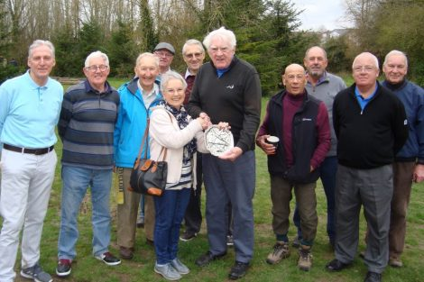 "Gloria Barclay presents the ""Peter Barclay Salver"" to Alan Sellwood at Charlton Lakes Golf Club"