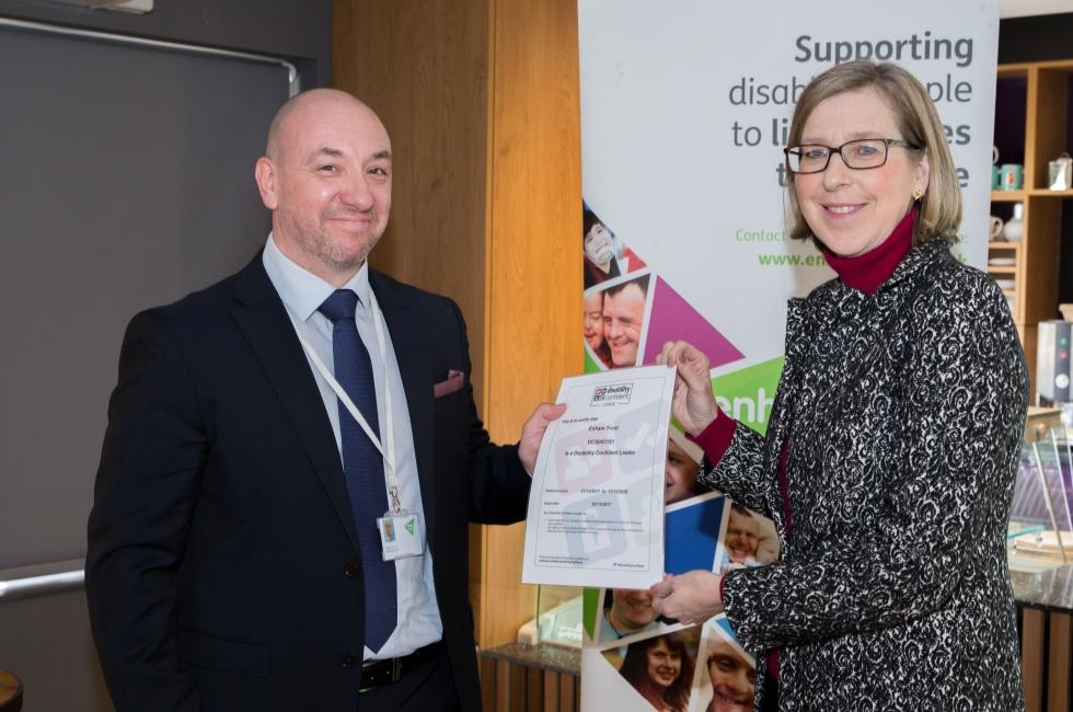 Sarah Newton MP with CEO Heath Gunn at the Disability Confident Event