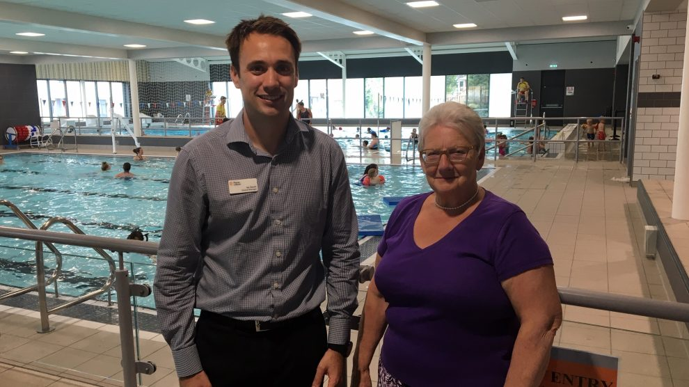 Ian Souch and Cllr Iris Andersen Andover Leisure Centre