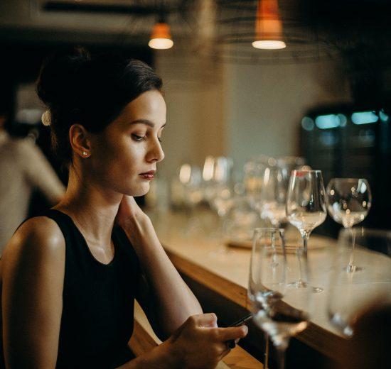 Single girl in bar