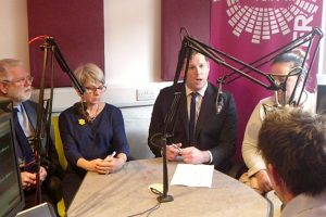 Andover BID, leader of Test Valley Borough Council Phil North and local businesses talking to Andover Radio