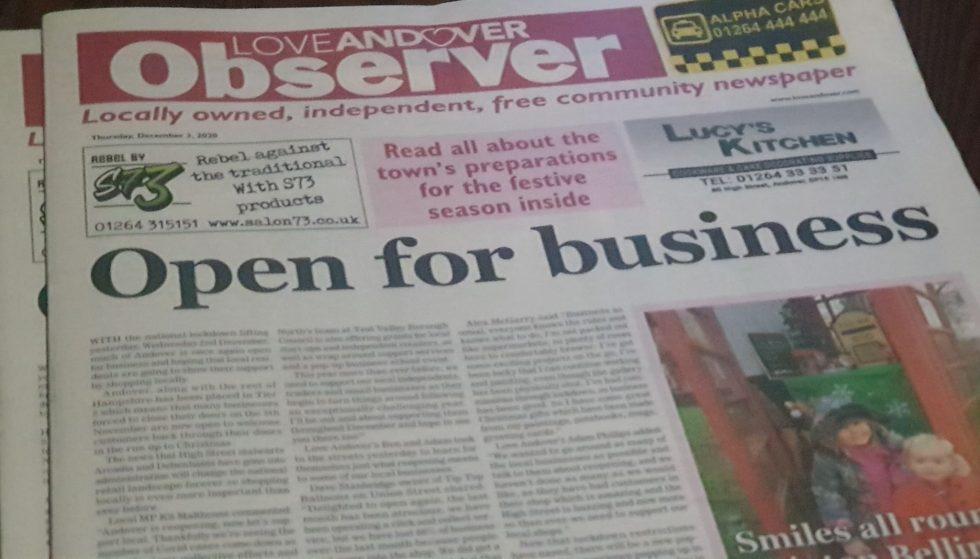 Love Andover Observer Newspaper 3rd December 2020