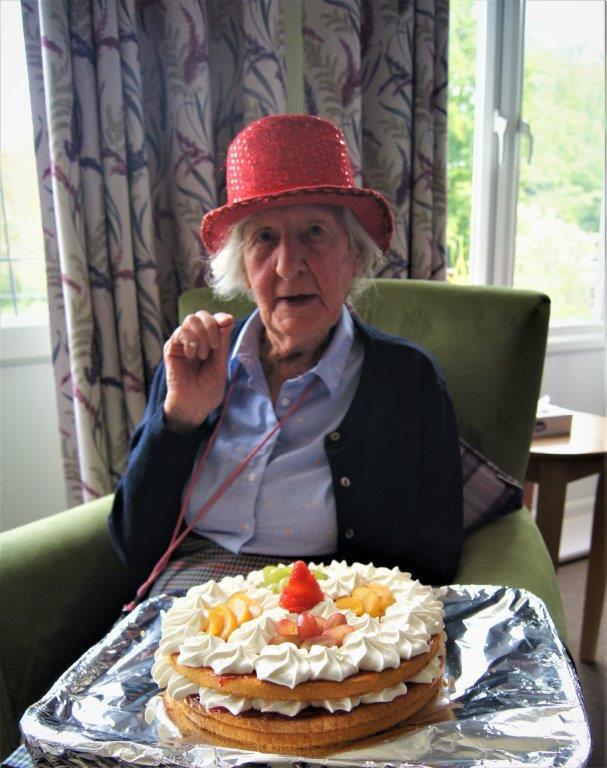 Mary with birthday cake