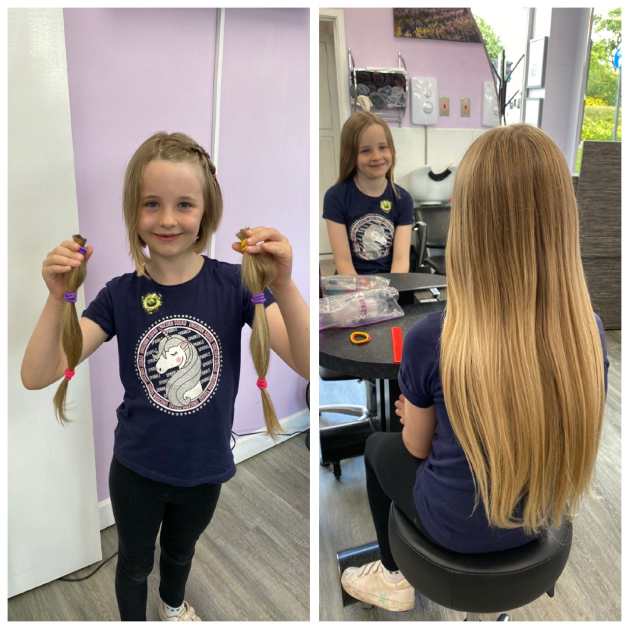 Seven-year-old girl cuts off a lifetime of hair for children's cancer charity