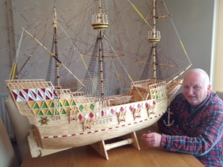 David Reynolds – model of Mayflower made from matchsticks