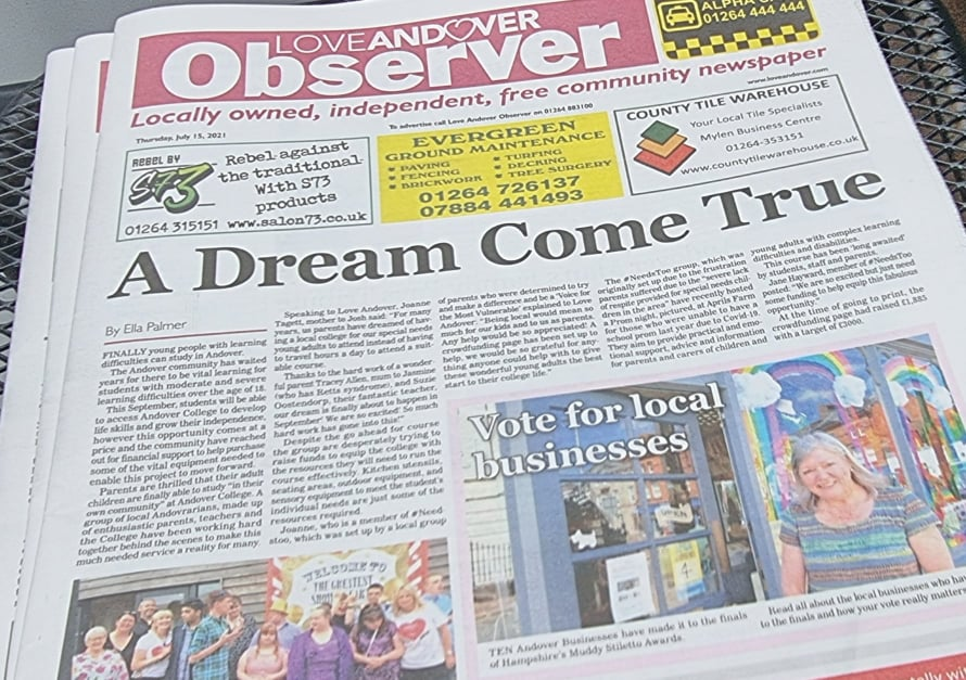 Andover Observer Front Page 15th July 202150721