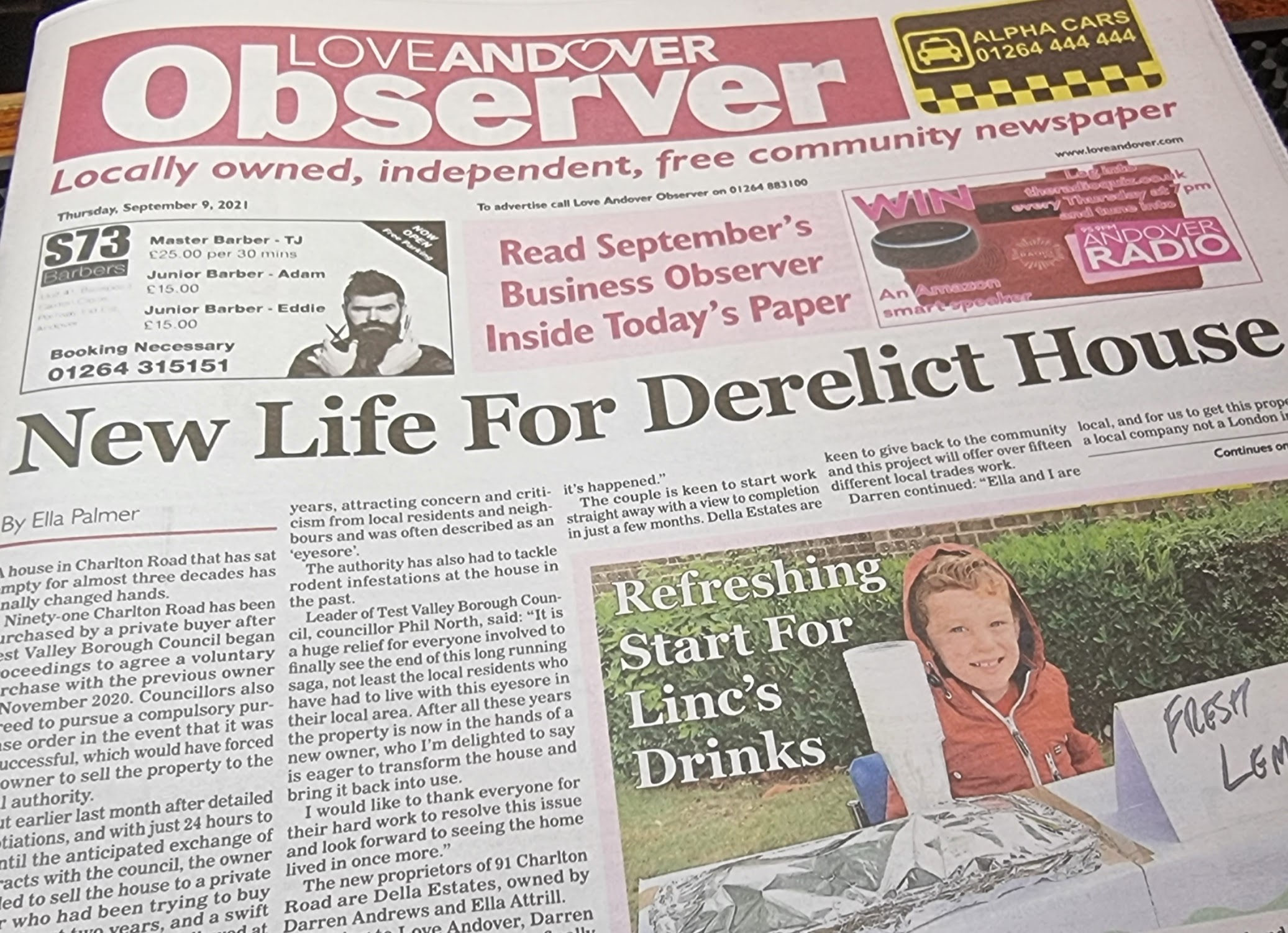 Love Andover Observer Newspaper Front Page 9th September 2021