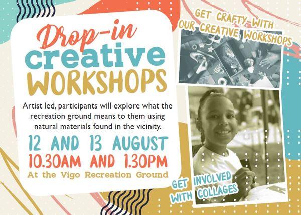 drop in workshop postcard